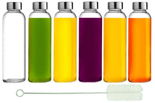 Brieftons Glass Water Bottle with Cleaning Brush