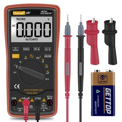 Thsinde Digital Multimeter TRMS 6000 with Battery Alligator Clips