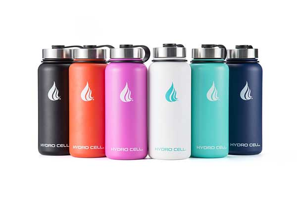 Hydro Cell Water Bottle with Straw and Wide Mouth Lids - Stainless Steel