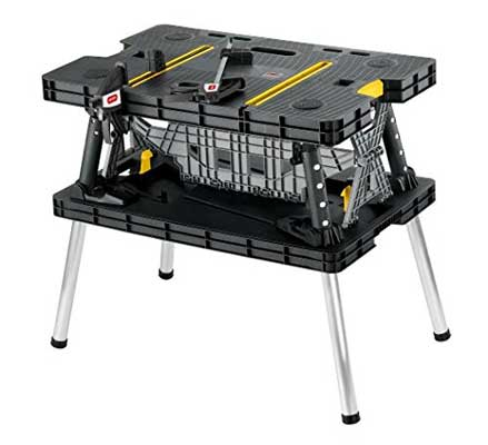 Keter Folding 1000Lb Capacity Compact Workbench Sawhorse Work Table