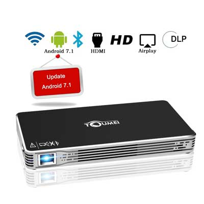 Projectors, TOUMEI Mini Portable Android 7.1 Video Projector