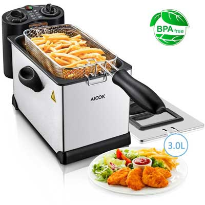 Aicok Electric Deep Fryer with Basket, 1700 Fast Immersion Fryer