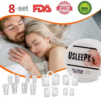 Usleepy 8 Set Stop Snoring Nasal Dilator for Ease Breathing and Snore Relief
