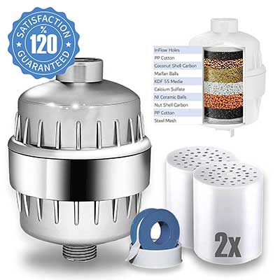 Eco Shower Filter with replacement Cartridges and Shower Curtain