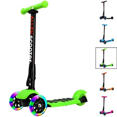 Allek Kick Scooter, 3 Wheel Adjustable Height PU Flashing 3 Wheels Scooter