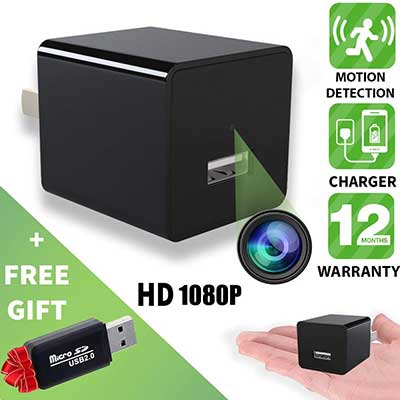 Alpha Tech Hidden Spy Camera, Motion Detection HD 1080P USB Hidden Surveillance Camera
