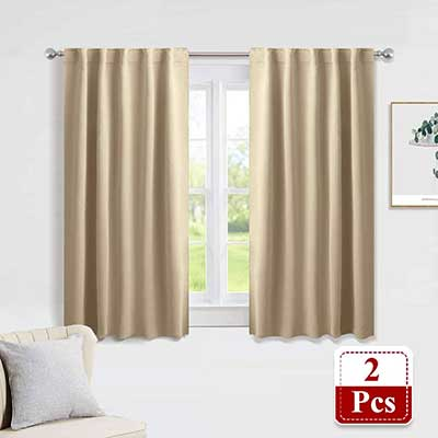 PONY DANCE Beige Heavy-Duty Blackout Curtains