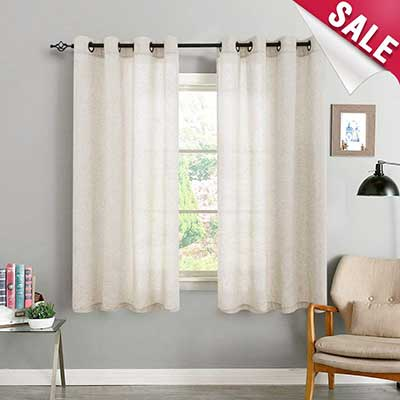 Vangao Linen Textured Window Curtain Panel