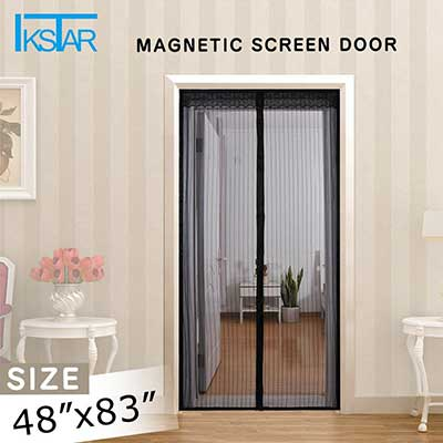 IKSTAR Magnetic Screen Door with Heavy Duty Mesh Curtain, Full Frame
