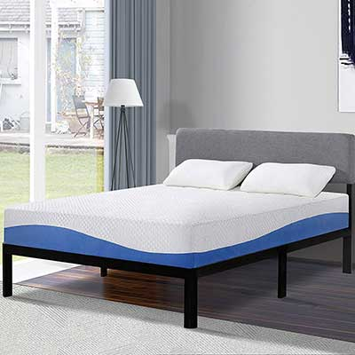 Olee Sleep 10 Inch Gel Infused Layer Top Memory Foam Mattress Blue