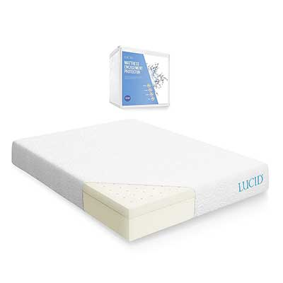 LUCID 10 Inch Latex Foam Memory Mattress- Ventilated Design