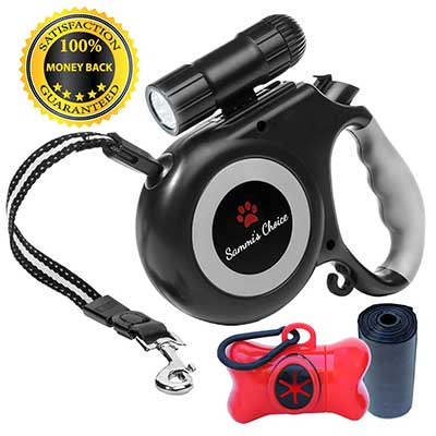 Retractable Dog Leash with Bright Flashlight for Small and Medium Dogs