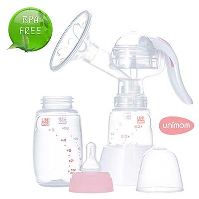 Manual Breast Pump with Soft Silicone Massaging Breast Shield