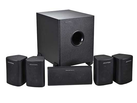 Monoprice 5.1 Channel Home Theater Satellite Speakers and Subwoofer – Black