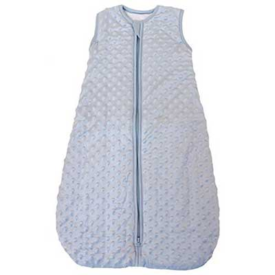 Baby Sleeping bag 'Minky Dot' blue, quilted and double layered