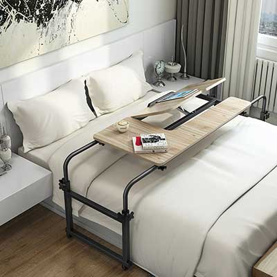 Overbed Table with Wheels, LITTLE TREE Multi-Function Adjustable Mobile Table