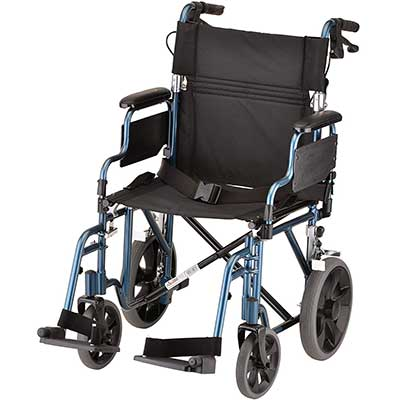 NOVA Lightweight Transport Chair with Locking Hand Brakes