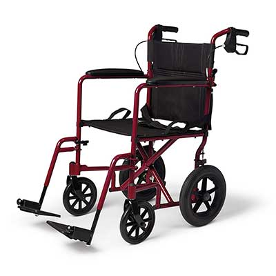 Medline Lightweight Transport Adult Folding Wheelchair