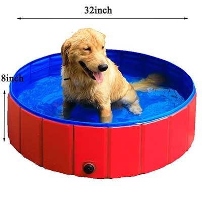 GRULLIN Pet Swimming Pool Portable Foldable Pool Dogs Cats Bathing Tub