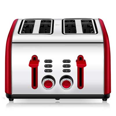 Toaster 4 Slice, Chitomax 4 Wide Slots Stainless Steel Toasters