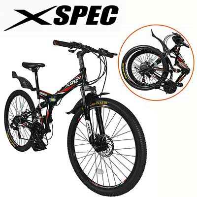 Xspec 26-Inch 21-Speed Folding Mountain Trail Bicycle Commuter Foldable Bike