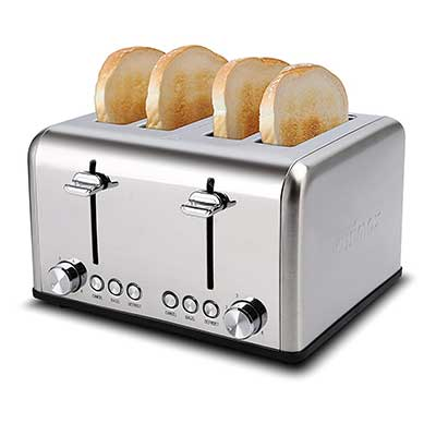 Cusimax 4 Slice Toaster, Extra Wide Slot with BAGEL/DEFROST/CANCEL Function