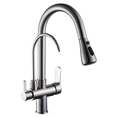 WANFAN Modern Pull-Down Kitchen Sink Faucet 3- in 1 Filter Purifier
