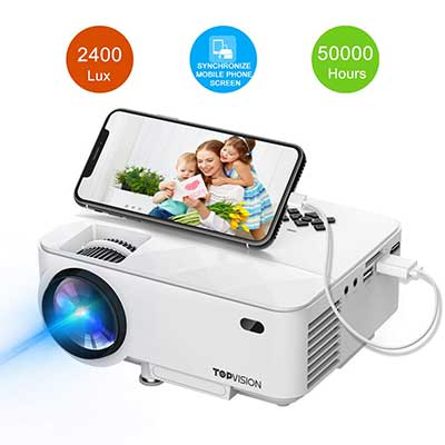 Mini Projector, TOPVISION 2400Lux Projector with Synchronize Smartphone Screen