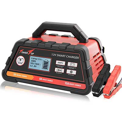 2/8/15A 12V Fully Automatic Smart Battery Charger/Maintainer with cable Clamps
