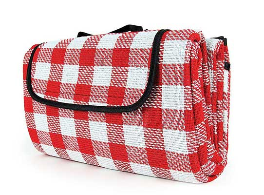 Camco Classic Red & White Checkered Picnic Blanket with Waterproof Backing