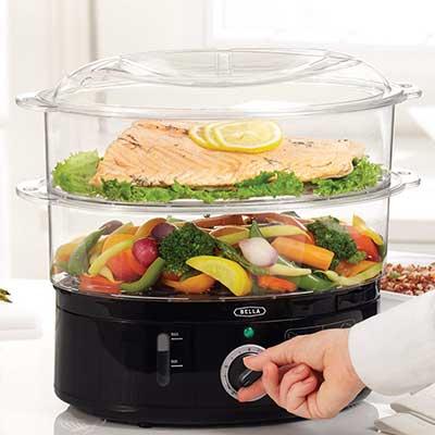BELLA 13872 7.4 Quart 2-Tier Stackable Baskets Healthy Food Steamer