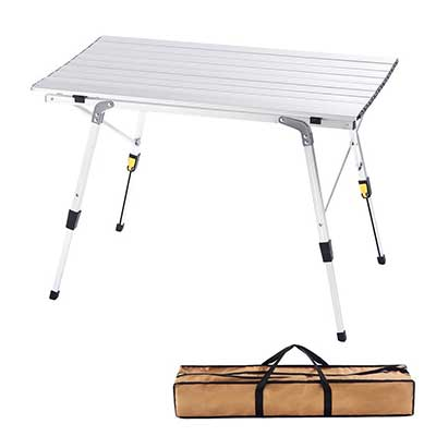 CampLand Aluminum Height Adjustable Folding Table