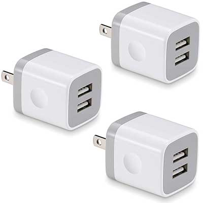 USB Wall Charger, BEST4ONE 3-Pack