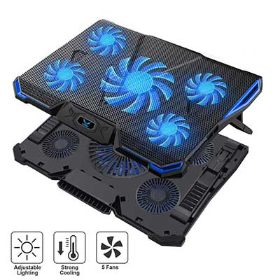 Wsky Laptop Cooler, Ultra Slim 12-18 Inch Laptop Cooling Pad