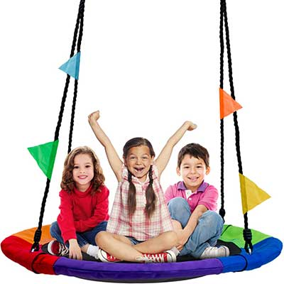 Sorbus Saucer Tree Swing in Multi-Color Rainbow
