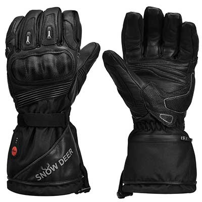 Heated Motorcycle Gloves, 7.4V 2200MAH Electric Rechargeable Battery