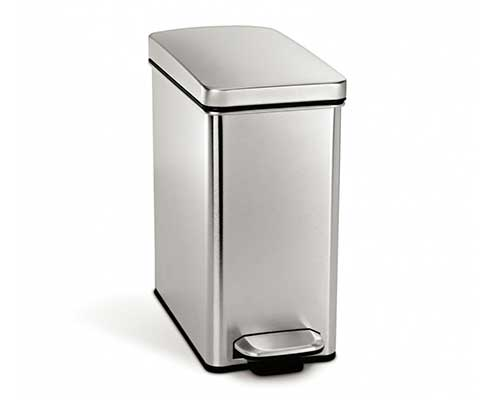 simplehuman 10 Liter Stainless Steel Bathroom Trash Can