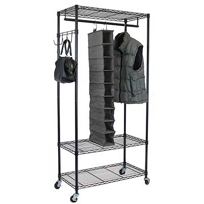 Oceanstar Garment Rack with Adjustable Shelves