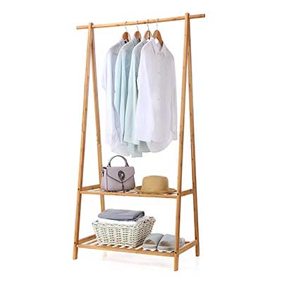 Finnhomy Bamboo Clothes Rack Portable Extra Large
