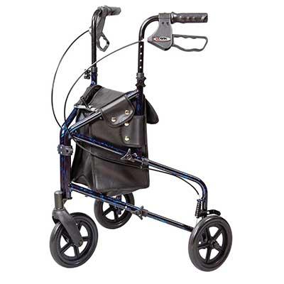 Carex 3 Wheel Walker for Seniors, Foldable, Rollator Walker