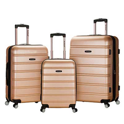 Rockland Melbourne 3 PC ABS Luggage Set, Champagne