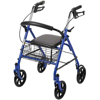 Drive Medical Four Wheel Walker Rollator with Fold Up