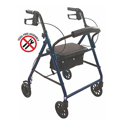 Wave Medical Products Deluxe Rollator Walker with Seat