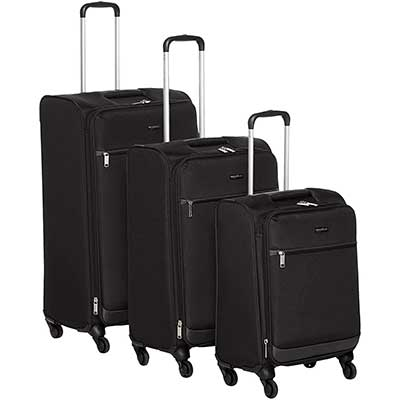 AmazonBasics 3 Piece SoftSide Carry-on Spinner Luggage Set