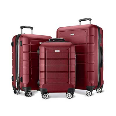 SHOWKOO Luggage Sets Expandable PC+ ABS Durable Suitcase