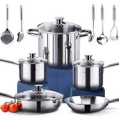 HOMI CHEF Nickel Free Stainless Steel Cookware Set