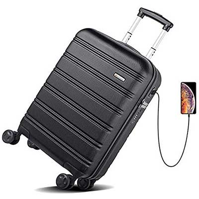 REYLEO USB Charging Luggage 20-inch PC+ ABS Carry-on Luggage