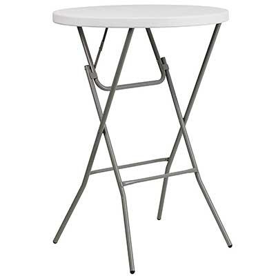 Flash Furniture 2.6-Foot Round Granite White Plastic Bar Table