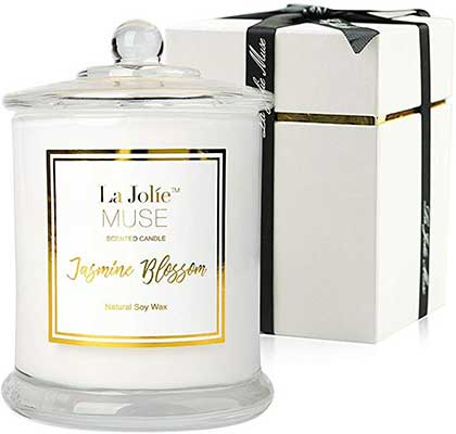 LA JOLIE MUSE Jasmine_Scented Candle Gift-Natural Soy-Wax