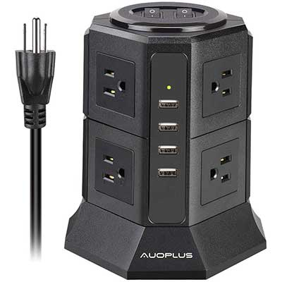 Tower Power Strip, AUOPLUS Multi-Plug Surge Protector